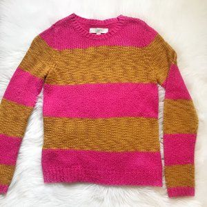 Loft Striped Pink and Yellow Wool Sweater